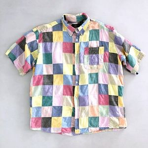 Orvis Mens Patchwork MultiColor Button Up Shirt
